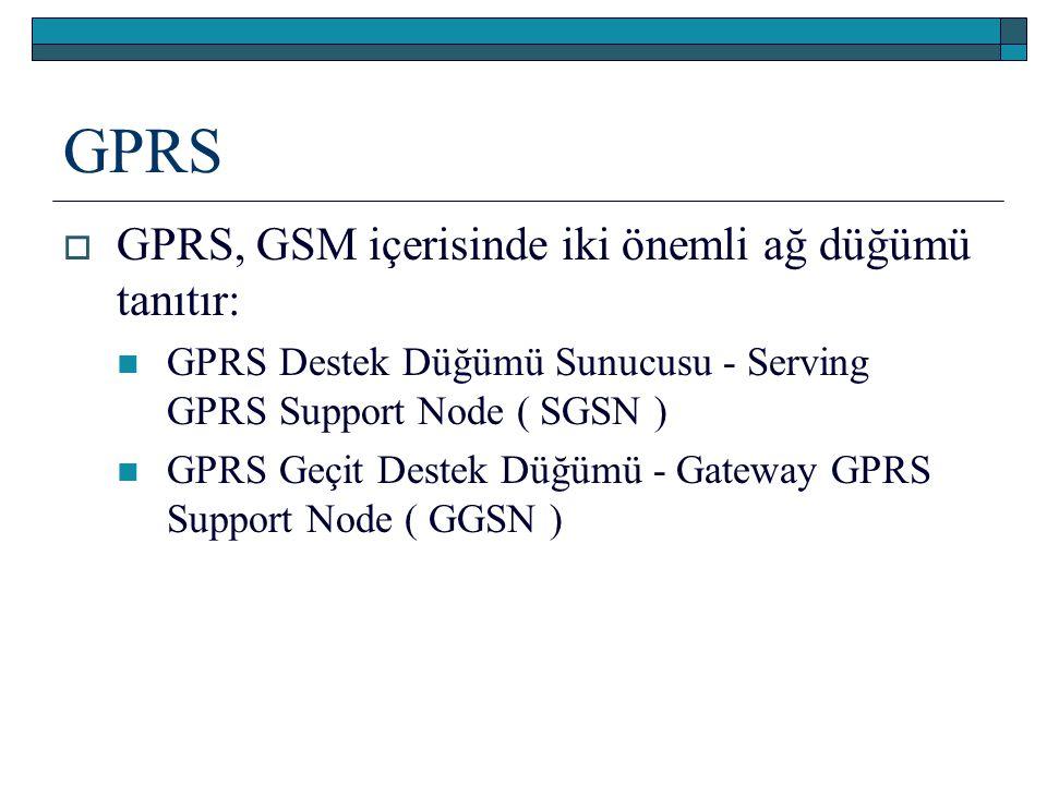 GPRS GPRS, GSM içerisinde iki önemli ağ düğümü tanıtır: