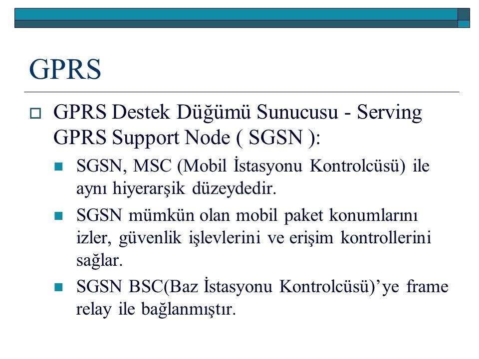 GPRS GPRS Destek Düğümü Sunucusu - Serving GPRS Support Node ( SGSN ):