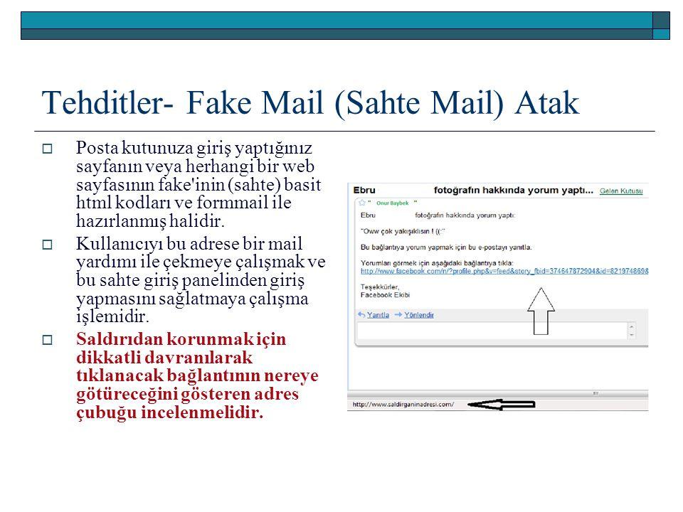 Tehditler- Fake Mail (Sahte Mail) Atak