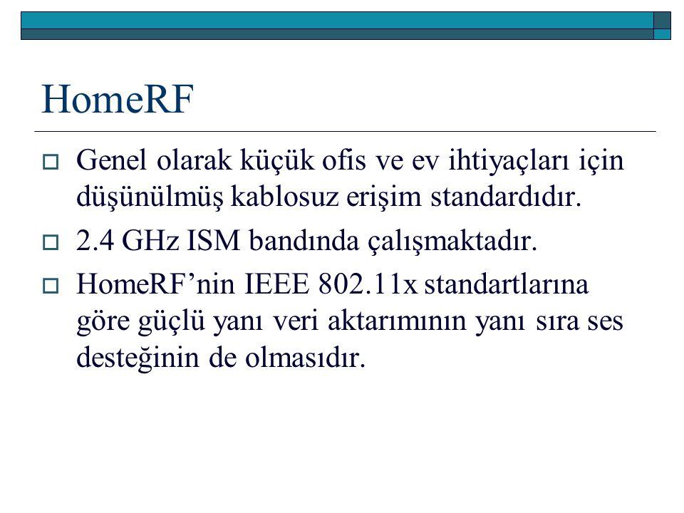 HomeRF Genel olarak küçük ofis ve ev ihtiyaçları için düşünülmüş kablosuz erişim standardıdır. 2.4 GHz ISM bandında çalışmaktadır.