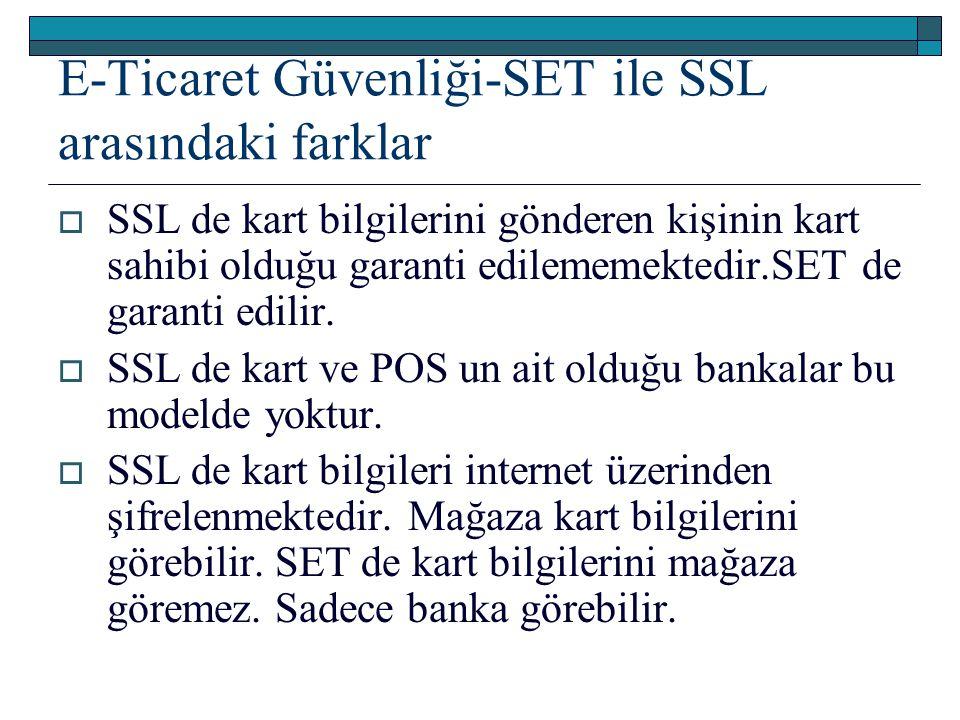 E-Ticaret Güvenliği-SET ile SSL arasındaki farklar