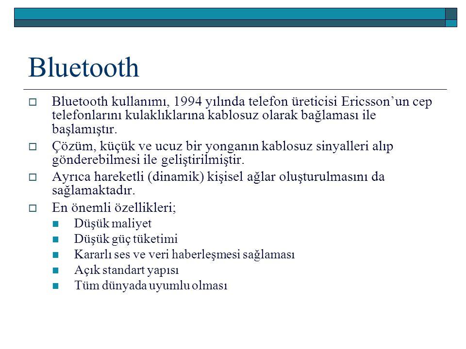 Bluetooth Bluetooth kullanımı, 1994 yılında telefon üreticisi Ericsson'un cep telefonlarını kulaklıklarına kablosuz olarak bağlaması ile başlamıştır.