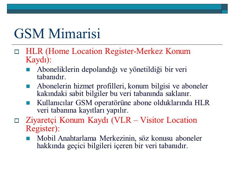 GSM Mimarisi HLR (Home Location Register-Merkez Konum Kaydı):