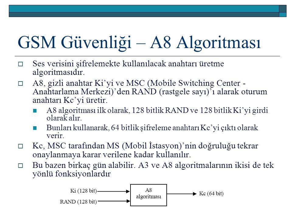 GSM Güvenliği – A8 Algoritması