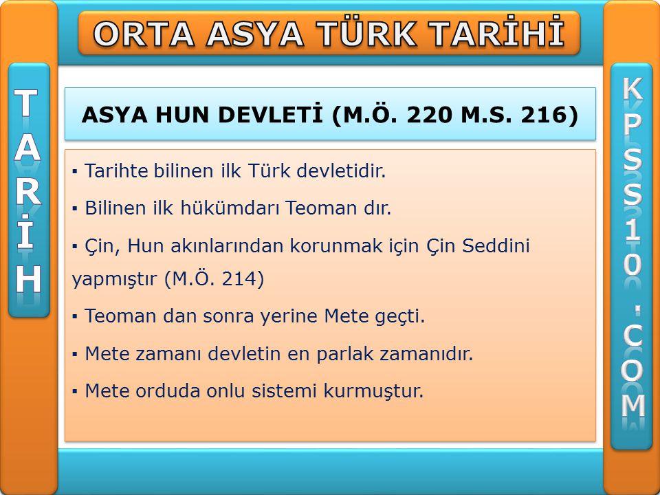 ASYA HUN DEVLETİ (M.Ö. 220 M.S. 216)