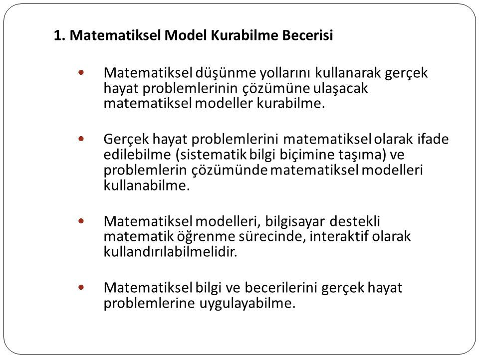 1. Matematiksel Model Kurabilme Becerisi