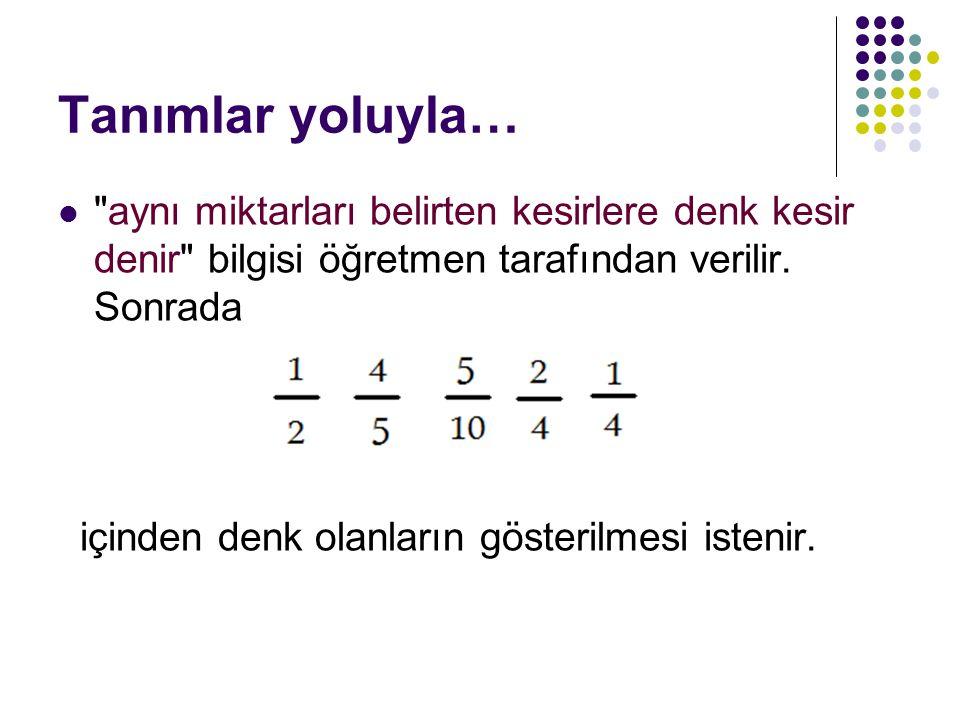 Tanımlar yoluyla… aynı miktarları belirten kesirlere denk kesir denir bilgisi öğretmen tarafından verilir. Sonrada.