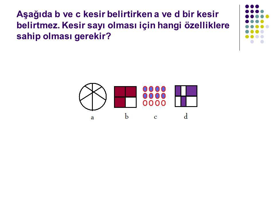 Aşağıda b ve c kesir belirtirken a ve d bir kesir belirtmez