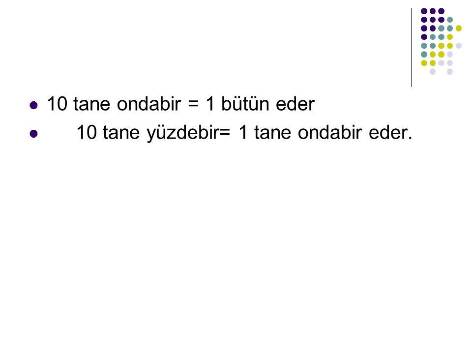 10 tane ondabir = 1 bütün eder