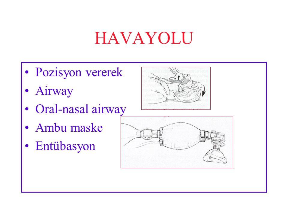HAVAYOLU Pozisyon vererek Airway Oral-nasal airway Ambu maske