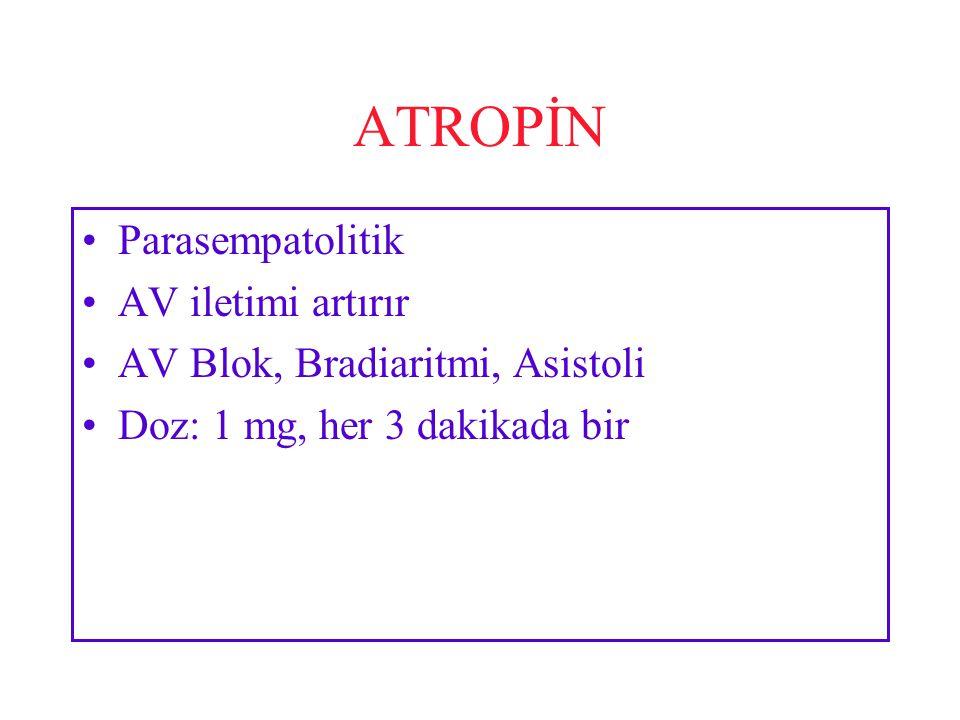 ATROPİN Parasempatolitik AV iletimi artırır