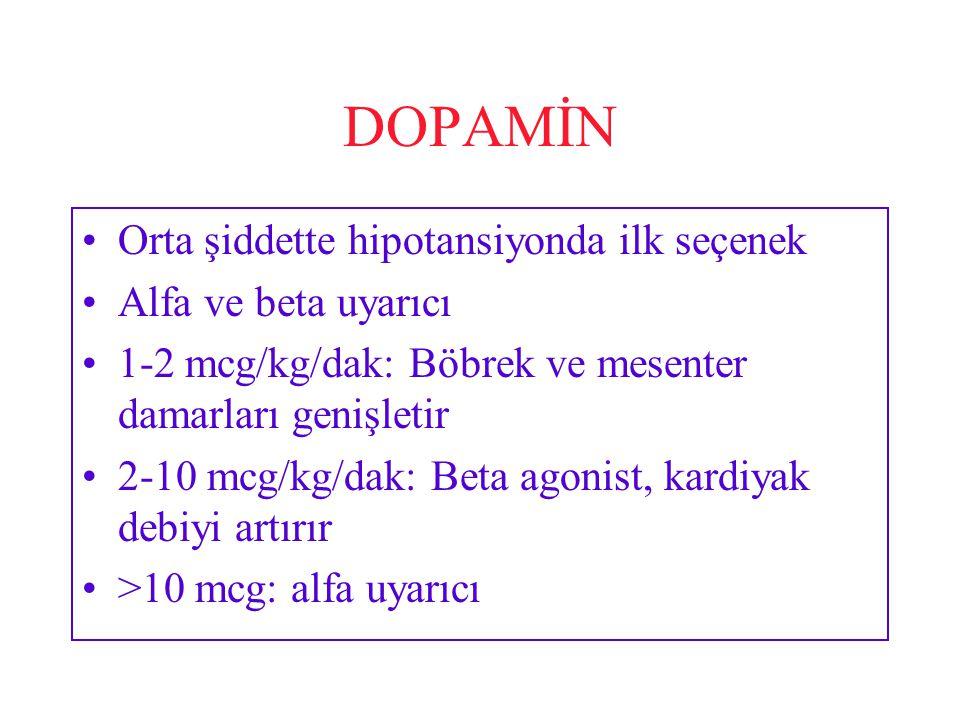 DOPAMİN Orta şiddette hipotansiyonda ilk seçenek Alfa ve beta uyarıcı