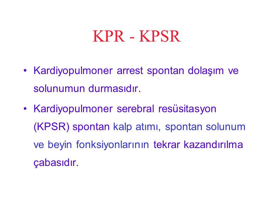 KPR - KPSR Kardiyopulmoner arrest spontan dolaşım ve solunumun durmasıdır.