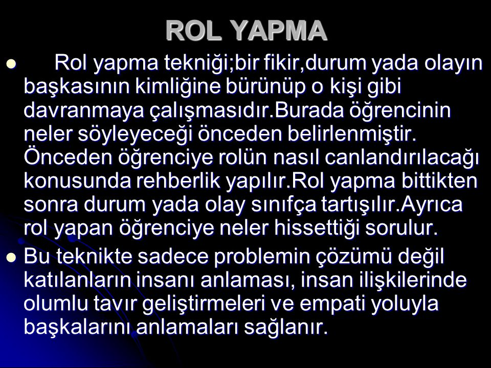 ROL YAPMA