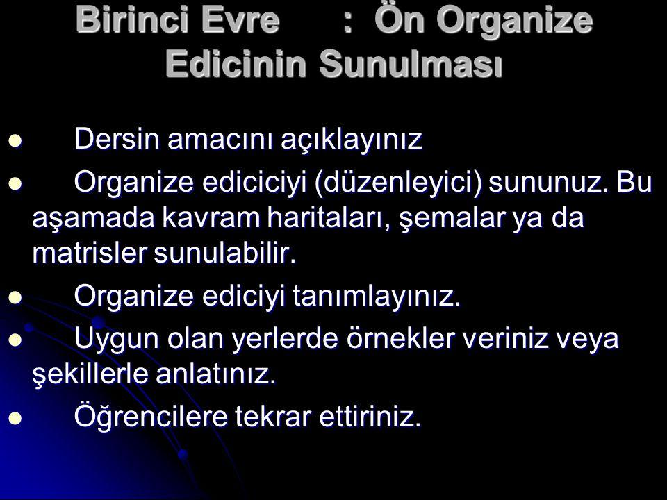 Birinci Evre : Ön Organize Edicinin Sunulması