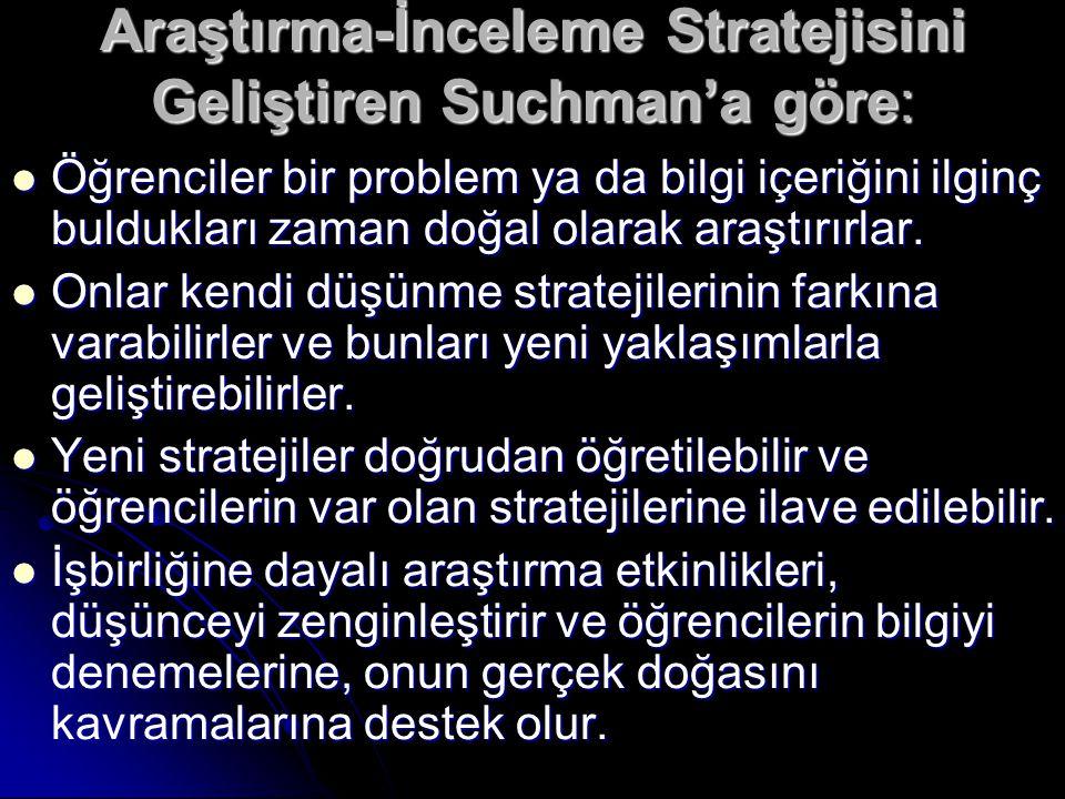 Araştırma-İnceleme Stratejisini Geliştiren Suchman'a göre: