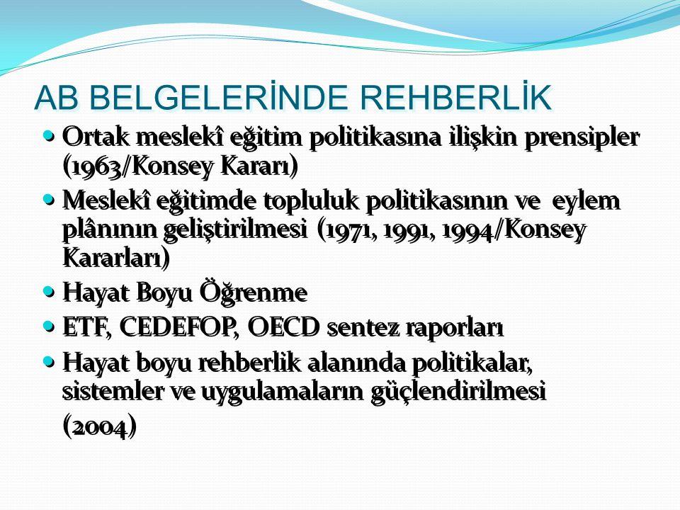 AB BELGELERİNDE REHBERLİK