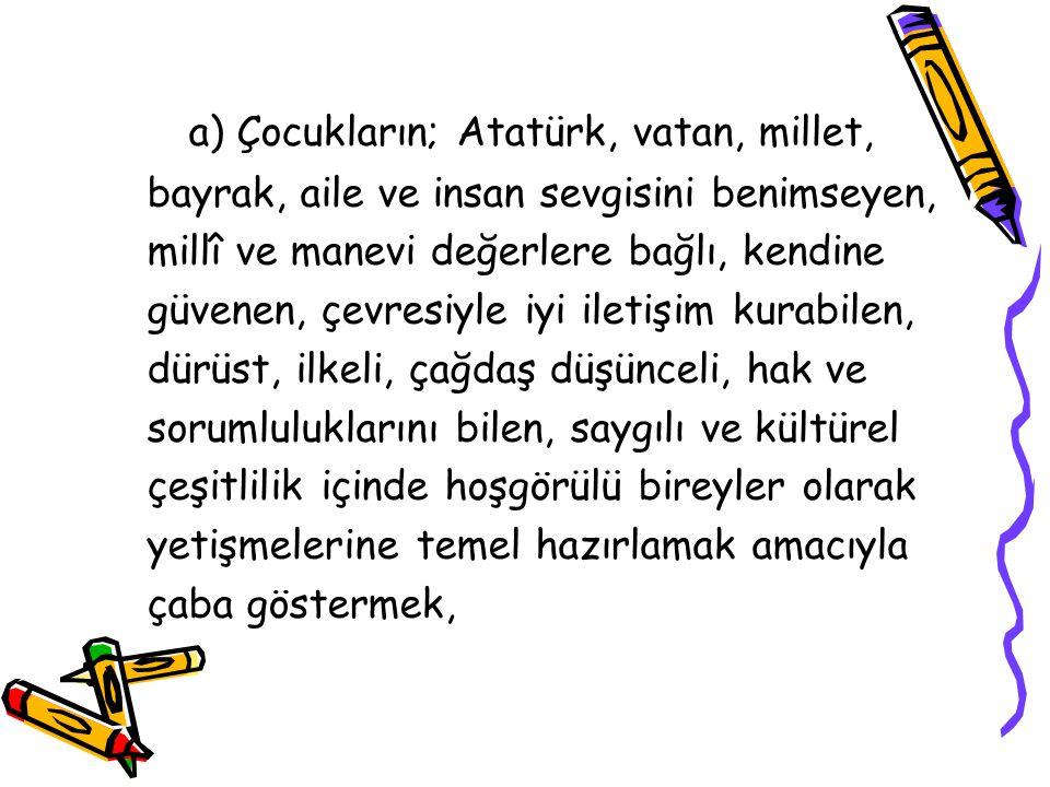 a) Çocukların; Atatürk, vatan, millet,
