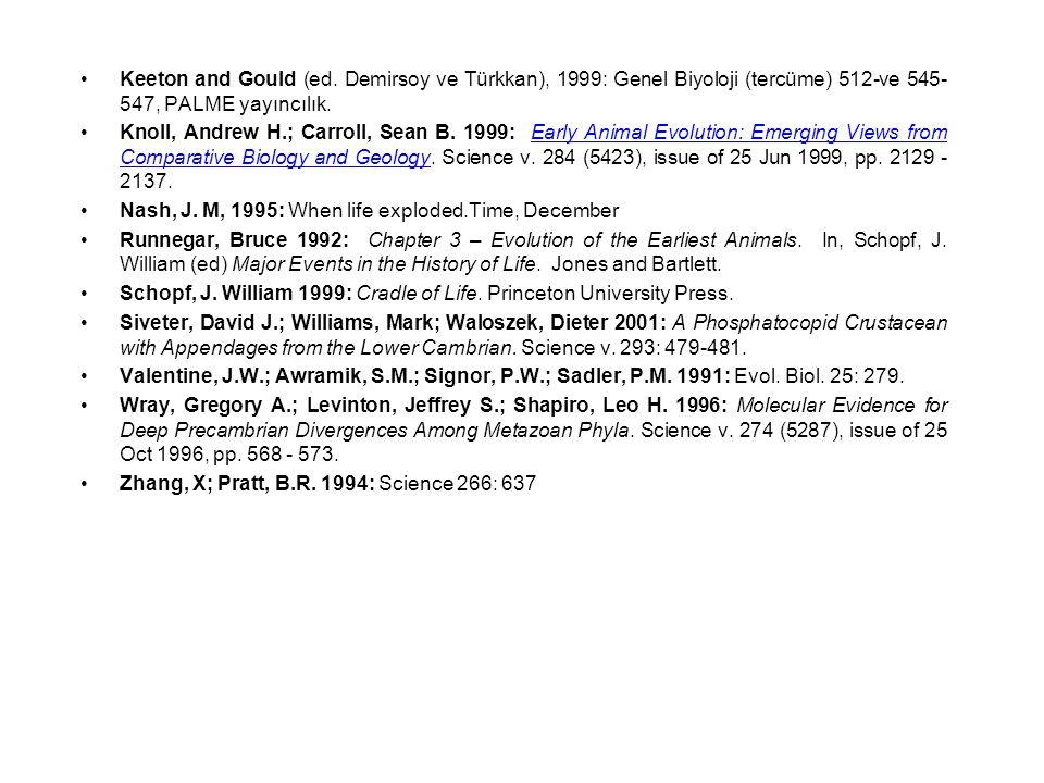 Keeton and Gould (ed. Demirsoy ve Türkkan), 1999: Genel Biyoloji (tercüme) 512-ve 545-547, PALME yayıncılık.