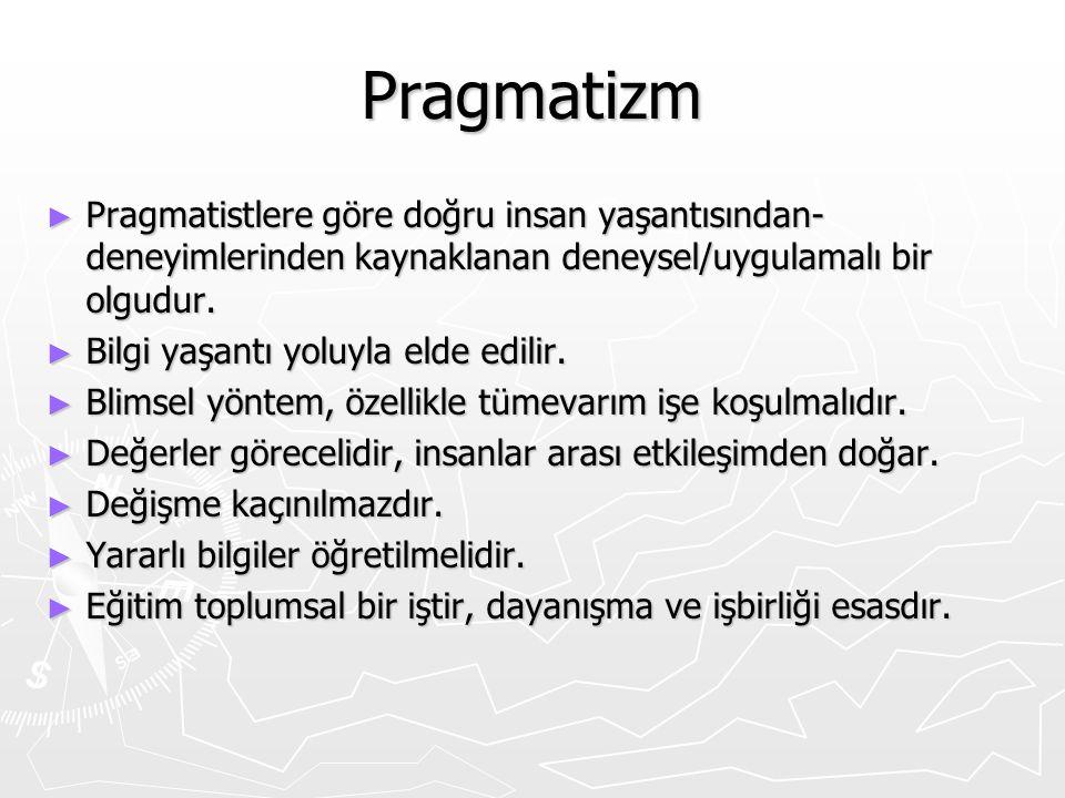 Pragmatizm Pragmatistlere göre doğru insan yaşantısından-deneyimlerinden kaynaklanan deneysel/uygulamalı bir olgudur.