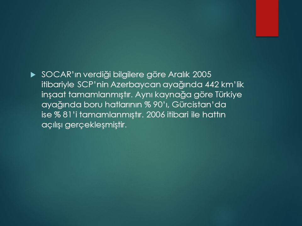 SOCAR'ın verdiği bilgilere göre Aralık 2005 itibariyle SCP'nin Azerbaycan ayağında 442 km'lik inşaat tamamlanmıştır.