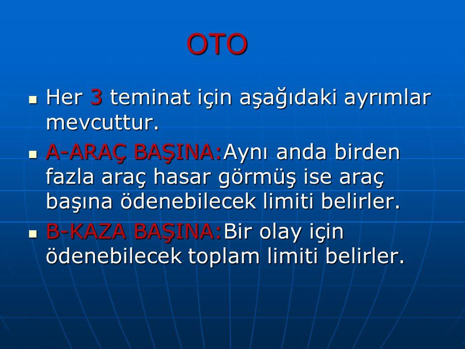 OTO Her 3 teminat için aşağıdaki ayrımlar mevcuttur.