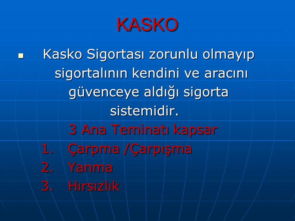 KASKO Kasko Sigortası zorunlu olmayıp sigortalının kendini ve aracını