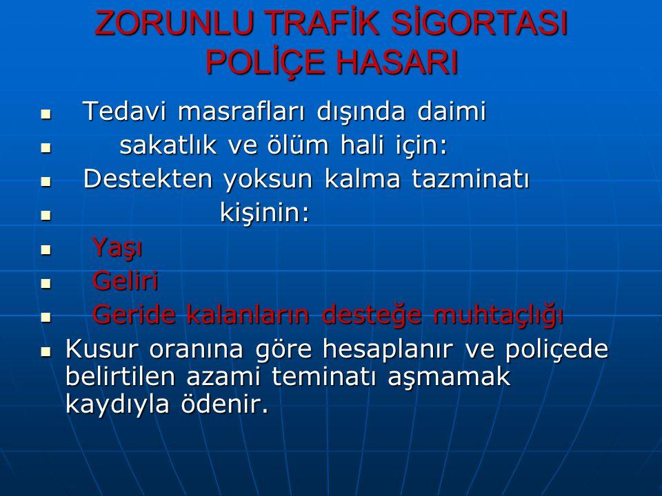 ZORUNLU TRAFİK SİGORTASI POLİÇE HASARI