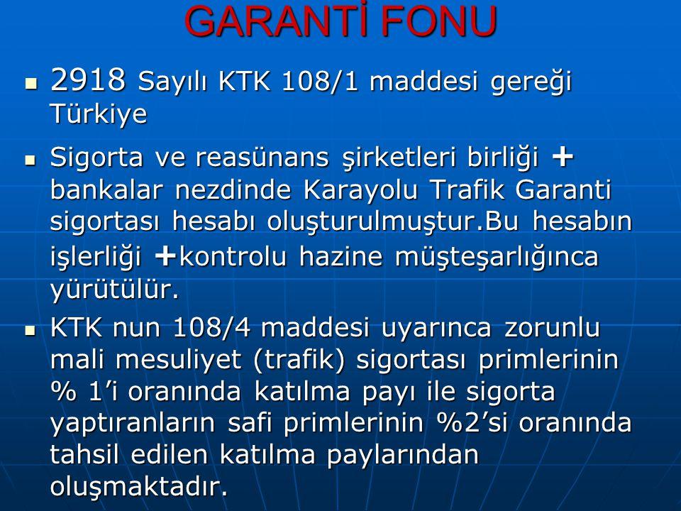 GARANTİ FONU 2918 Sayılı KTK 108/1 maddesi gereği Türkiye