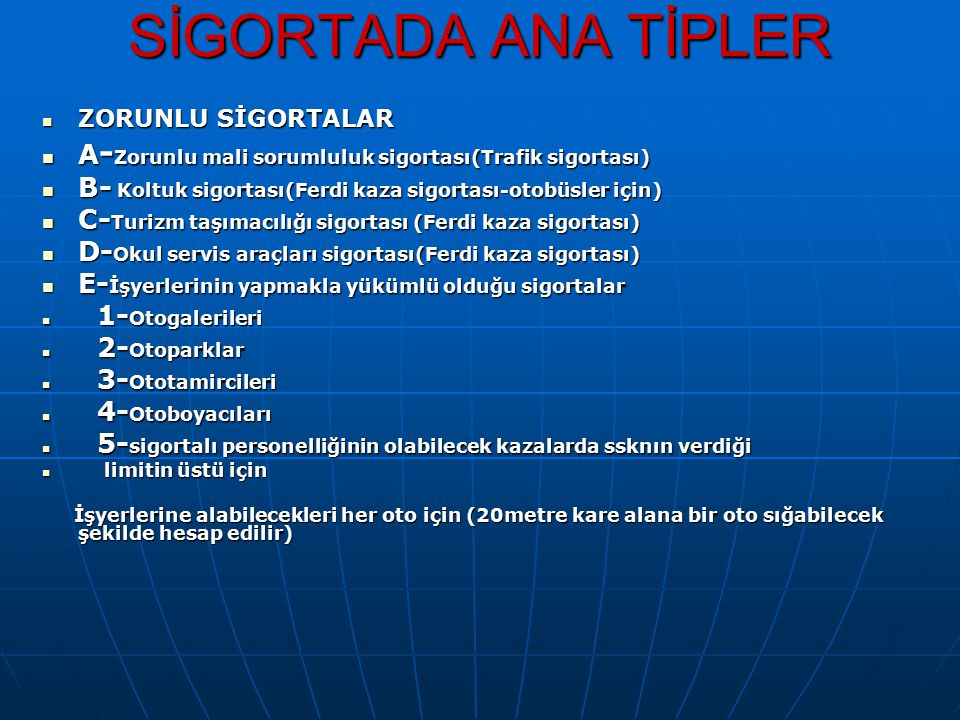 SİGORTADA ANA TİPLER ZORUNLU SİGORTALAR. A-Zorunlu mali sorumluluk sigortası(Trafik sigortası)