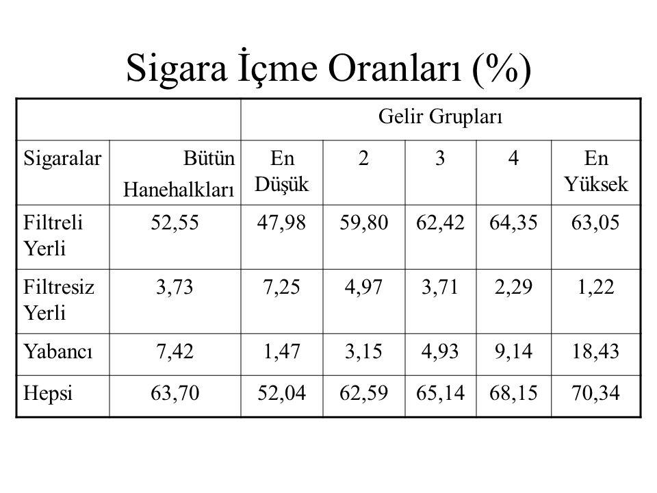 Sigara İçme Oranları (%)