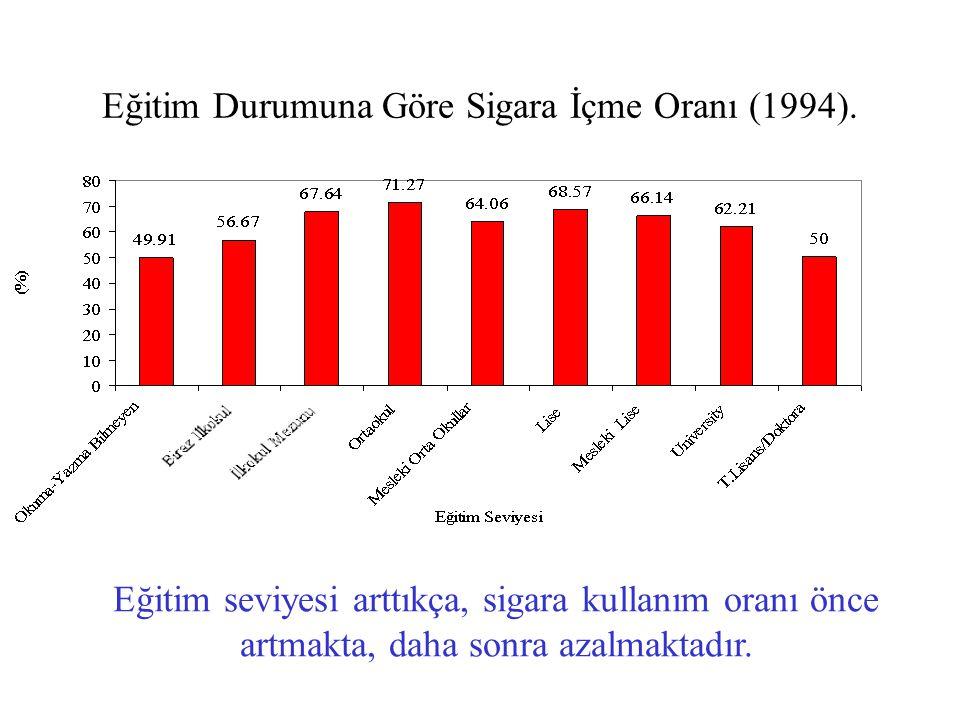 Eğitim Durumuna Göre Sigara İçme Oranı (1994).