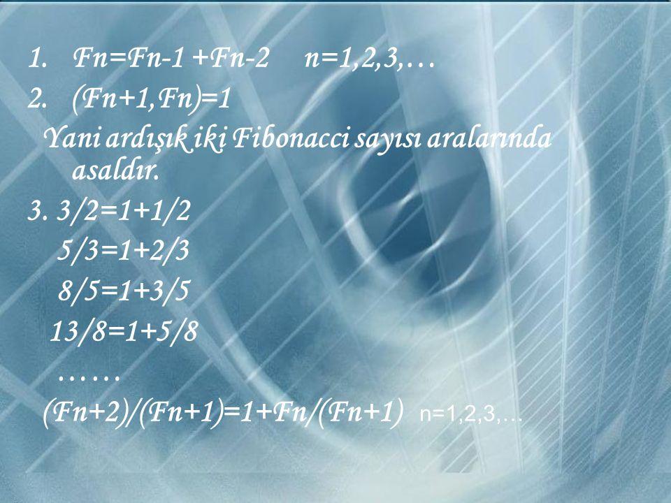 Fn=Fn-1 +Fn-2 n=1,2,3,… (Fn+1,Fn)=1. Yani ardışık iki Fibonacci sayısı aralarında asaldır. 3. 3/2=1+1/2.