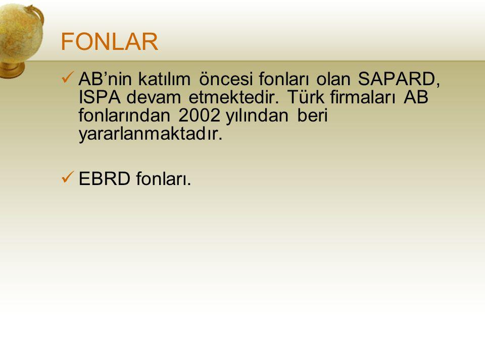 FONLAR AB'nin katılım öncesi fonları olan SAPARD, ISPA devam etmektedir. Türk firmaları AB fonlarından 2002 yılından beri yararlanmaktadır.