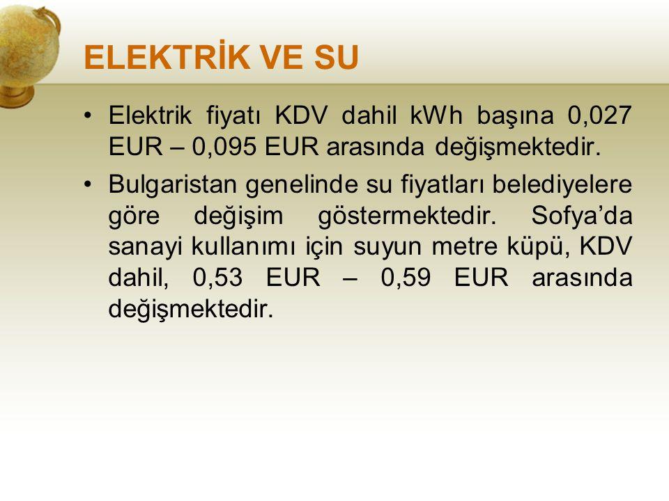 ELEKTRİK VE SU Elektrik fiyatı KDV dahil kWh başına 0,027 EUR – 0,095 EUR arasında değişmektedir.