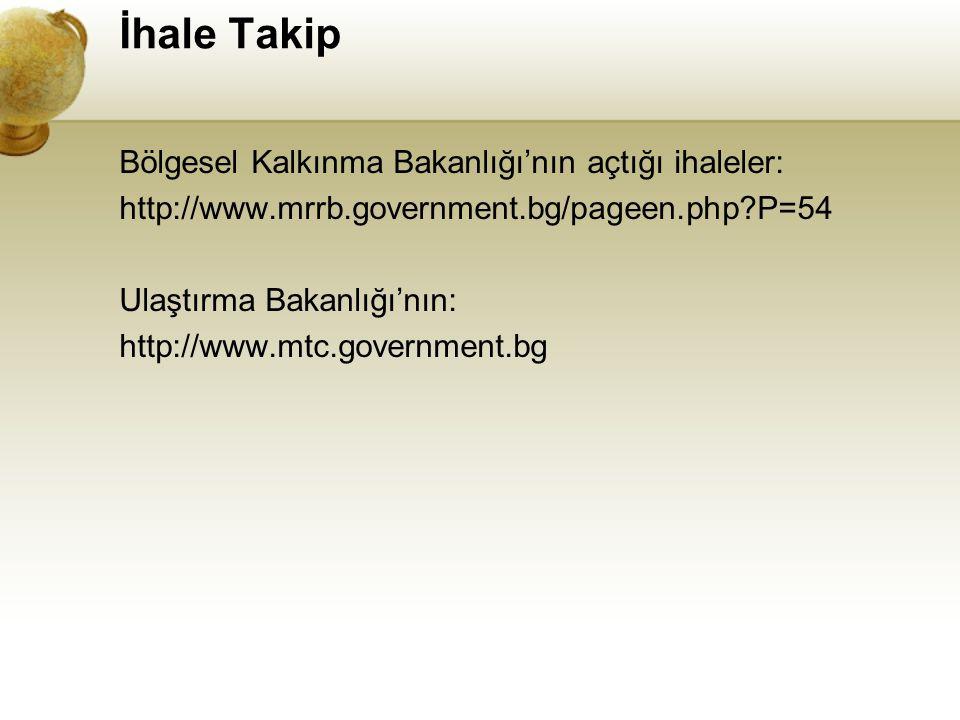 İhale Takip Bölgesel Kalkınma Bakanlığı'nın açtığı ihaleler: