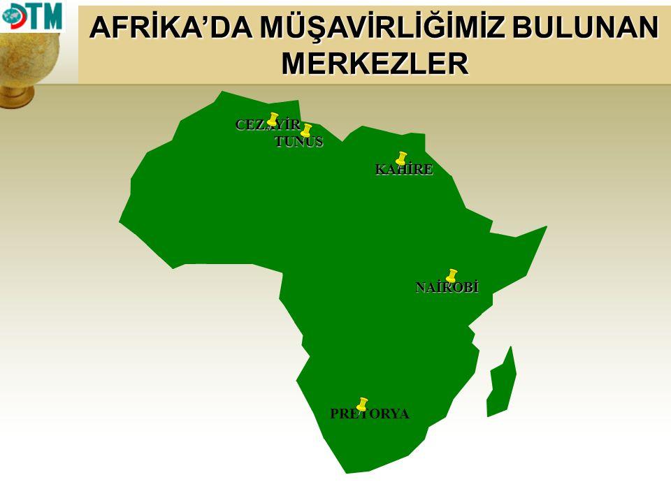 AFRİKA'DA MÜŞAVİRLİĞİMİZ BULUNAN MERKEZLER