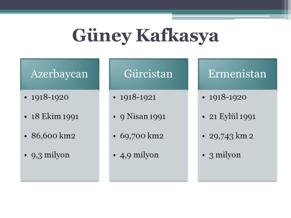 Güney Kafkasya Azerbaycan Gürcistan Ermenistan 1918-1920 18 Ekim 1991