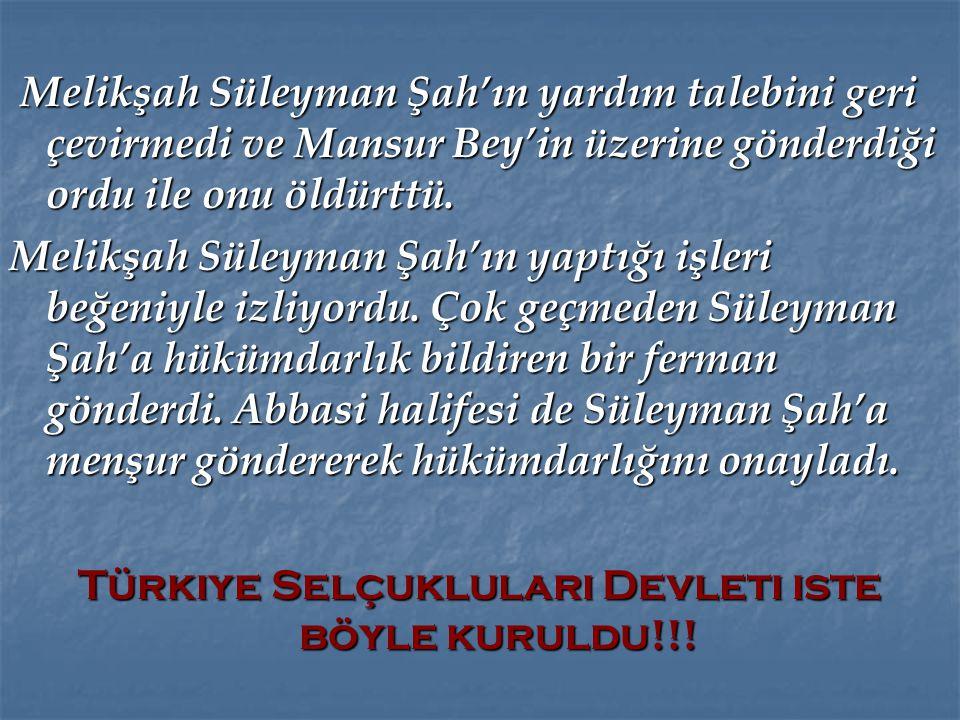Türkiye Selçukluları Devleti ıste böyle kuruldu!!!