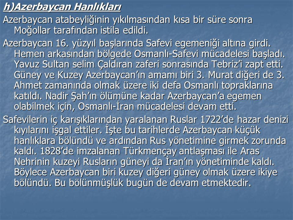 h)Azerbaycan Hanlıkları