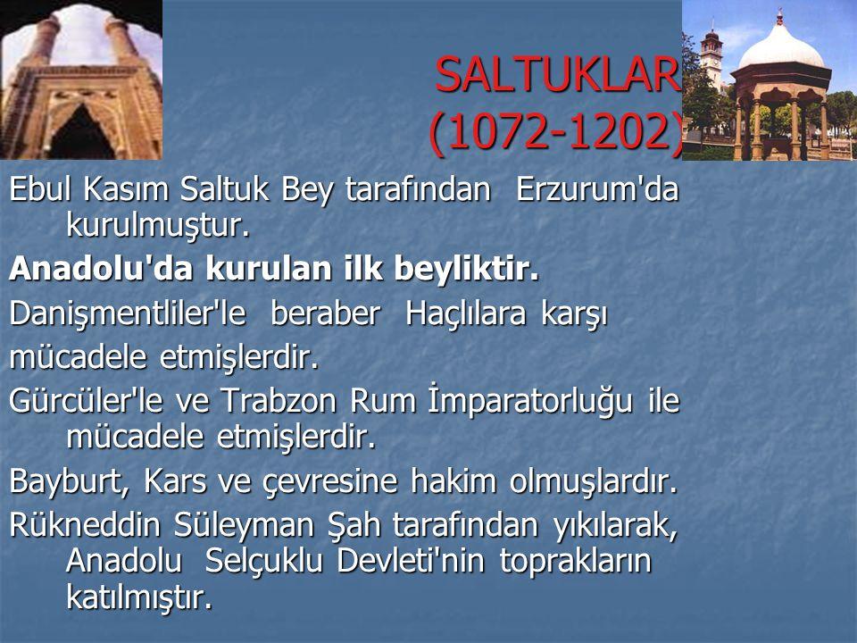 SALTUKLAR (1072-1202) Ebul Kasım Saltuk Bey tarafından Erzurum da kurulmuştur. Anadolu da kurulan ilk beyliktir.