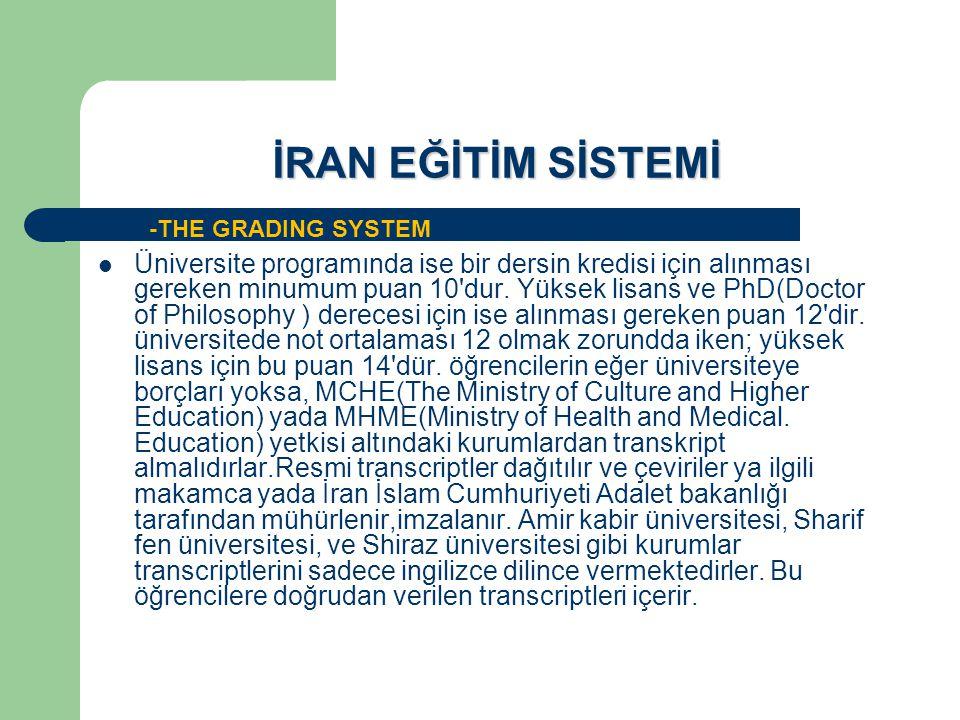 İRAN EĞİTİM SİSTEMİ -THE GRADING SYSTEM.