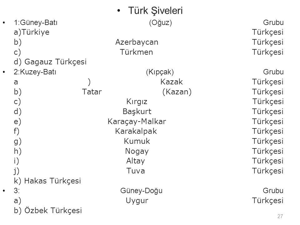 Türk Şiveleri 1:Güney-Batı (Oğuz) Grubu a)Türkiye Türkçesi b) Azerbaycan Türkçesi c) Türkmen Türkçesi d) Gagauz Türkçesi.