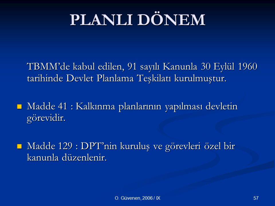 PLANLI DÖNEM TBMM'de kabul edilen, 91 sayılı Kanunla 30 Eylül 1960 tarihinde Devlet Planlama Teşkilatı kurulmuştur.