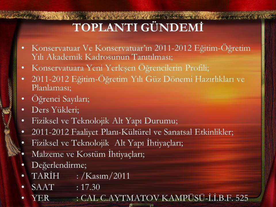 TOPLANTI GÜNDEMİ Konservatuar Ve Konservatuar'ın 2011-2012 Eğitim-Öğretim Yılı Akademik Kadrosunun Tanıtılması;