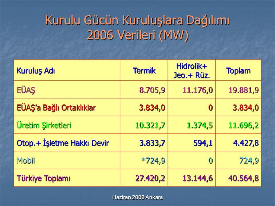 Kurulu Gücün Kuruluşlara Dağılımı 2006 Verileri (MW)