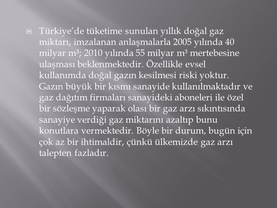 Türkiye'de tüketime sunulan yıllık doğal gaz miktarı, imzalanan anlaşmalarla 2005 yılında 40 milyar m³; 2010 yılında 55 milyar m³ mertebesine ulaşması beklenmektedir.