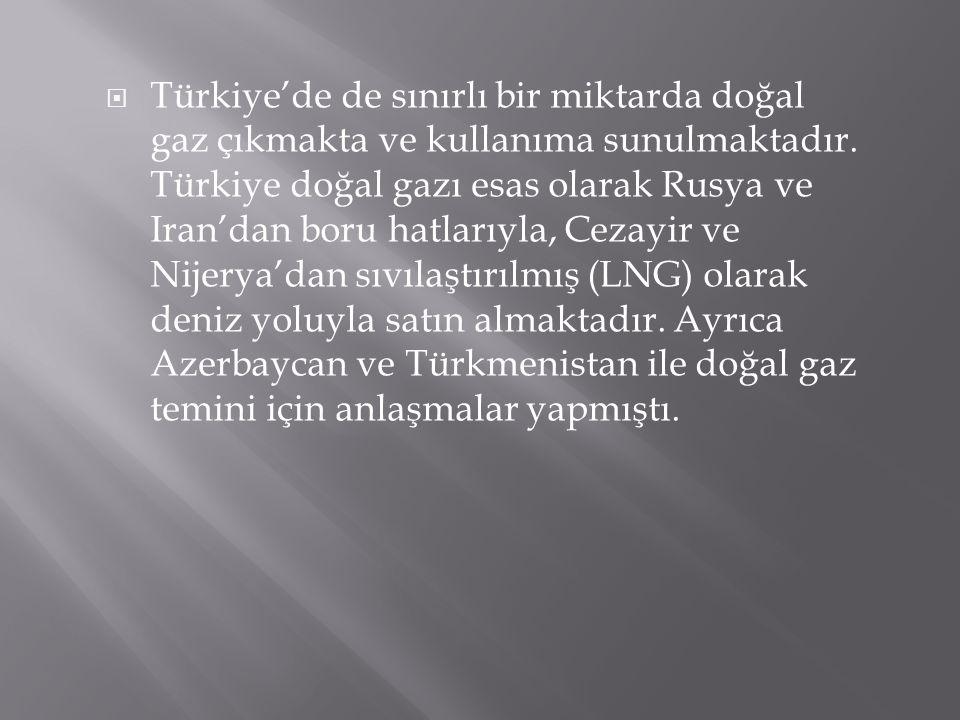 Türkiye'de de sınırlı bir miktarda doğal gaz çıkmakta ve kullanıma sunulmaktadır.