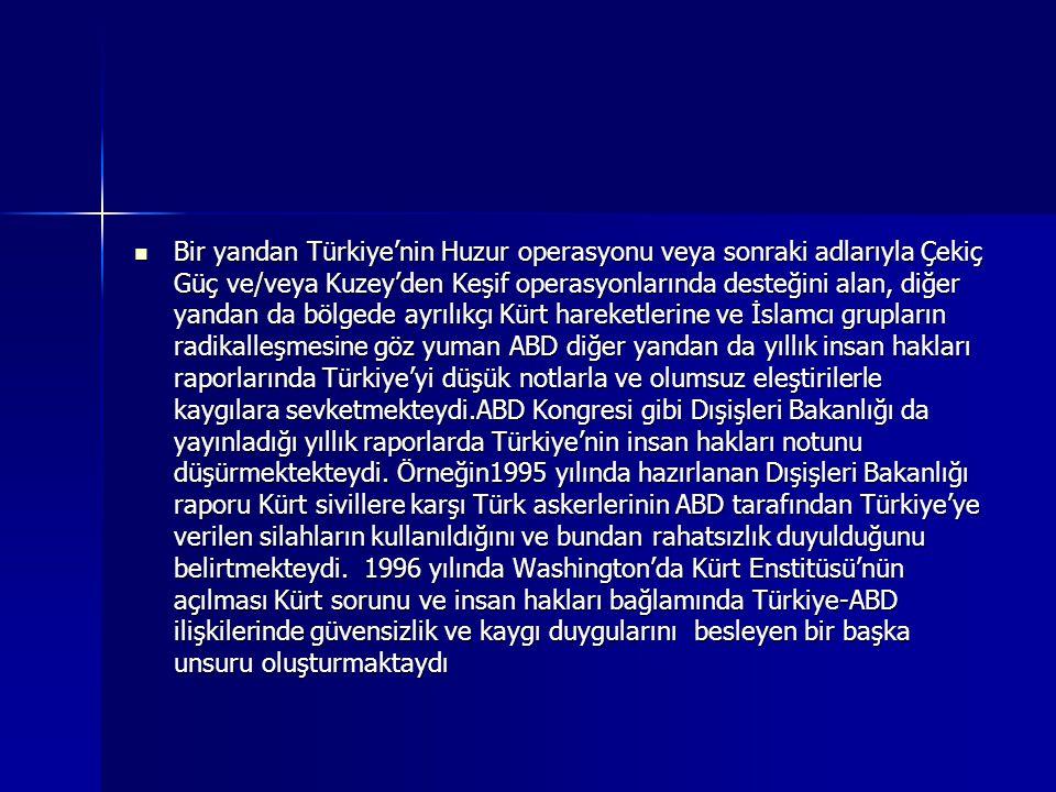 Bir yandan Türkiye'nin Huzur operasyonu veya sonraki adlarıyla Çekiç Güç ve/veya Kuzey'den Keşif operasyonlarında desteğini alan, diğer yandan da bölgede ayrılıkçı Kürt hareketlerine ve İslamcı grupların radikalleşmesine göz yuman ABD diğer yandan da yıllık insan hakları raporlarında Türkiye'yi düşük notlarla ve olumsuz eleştirilerle kaygılara sevketmekteydi.ABD Kongresi gibi Dışişleri Bakanlığı da yayınladığı yıllık raporlarda Türkiye'nin insan hakları notunu düşürmektekteydi.