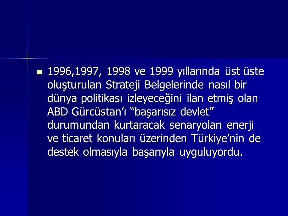1996,1997, 1998 ve 1999 yıllarında üst üste oluşturulan Strateji Belgelerinde nasıl bir dünya politikası izleyeceğini ilan etmiş olan ABD Gürcüstan'ı başarısız devlet durumundan kurtaracak senaryoları enerji ve ticaret konuları üzerinden Türkiye'nin de destek olmasıyla başarıyla uyguluyordu.